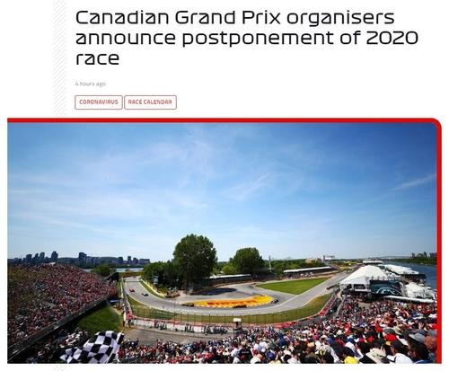 F1 캐나다 그랑프리 연기…코로나19에 9개 대회 연속 무산