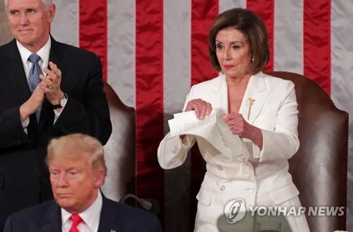 트럼프-펠로시 연일 신경전…이번엔 연설문 찢기 짜깁기 영상