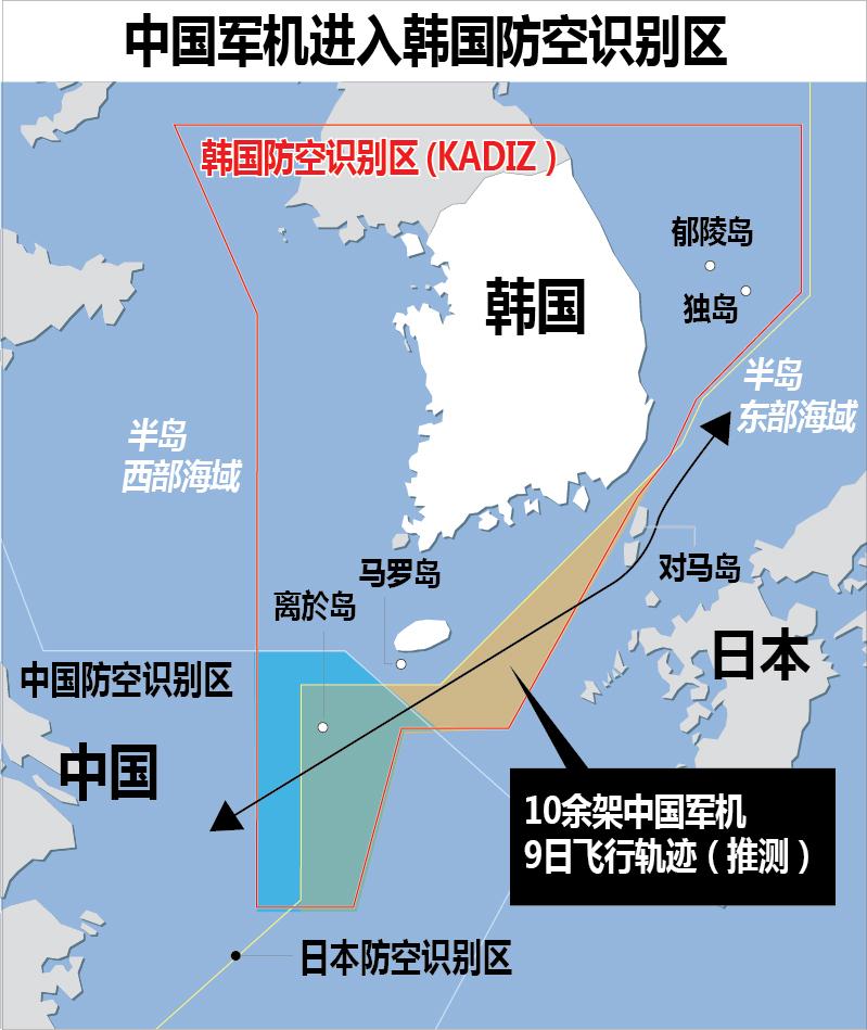 中国军机进入韩国防空识别区