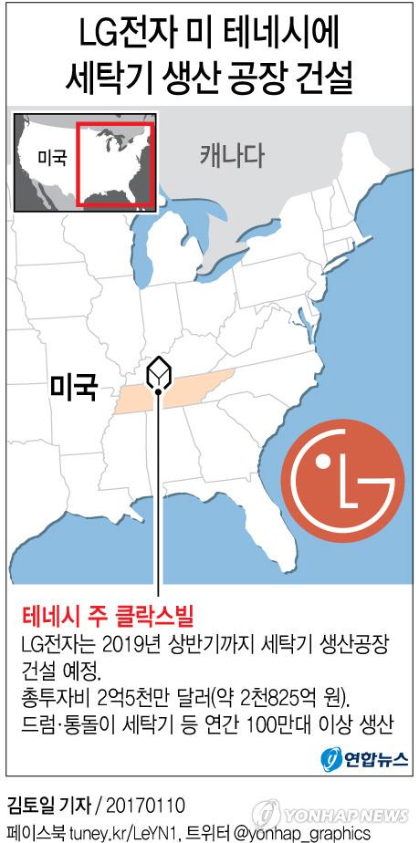 [그래픽] LG전자 미 테네시에 세탁기 생산 공장 건설