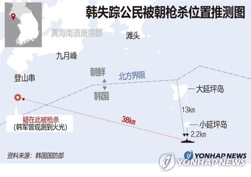 韩失踪公民被朝枪杀位置推测图