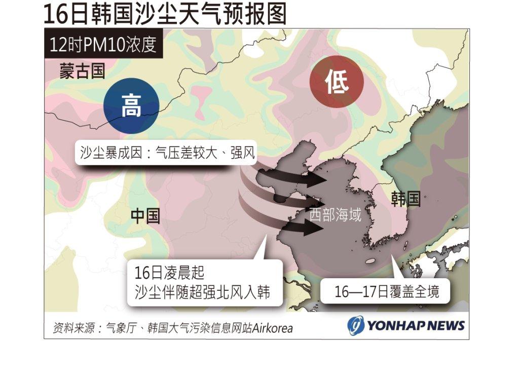 16日韩国沙尘天气预报图