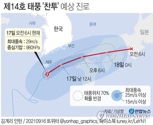 """资料图片:今年第14号台风""""灿都""""路径图 韩联社"""