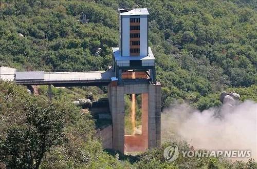这是朝媒20日公开的试验场景。图片仅限韩国国内使用,严禁转载复制。(韩联社/《劳动新闻》)