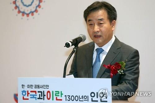 韩联社社长朴鲁晃致开幕词。(韩联社)