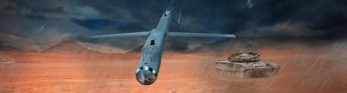 资料图片:这是SBD-II炸弹模型图,该炸弹可远程精确打击移动中的小目标。(引自雷神官网)