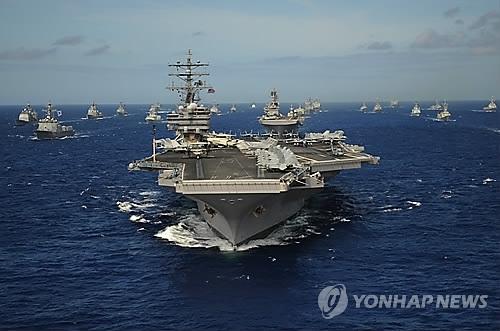 韩美海上联合军演启动 美核航母参演震慑朝鲜
