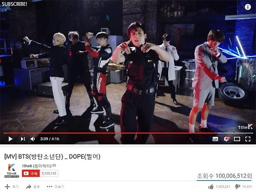 防弹少年团《绝了》MV在YouTube点击量破亿