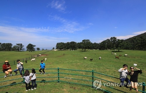 资料图片:游客在济州岛尽享秋色。(韩联社)
