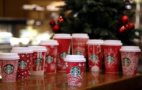韩国星粉设计星巴克圣诞红杯