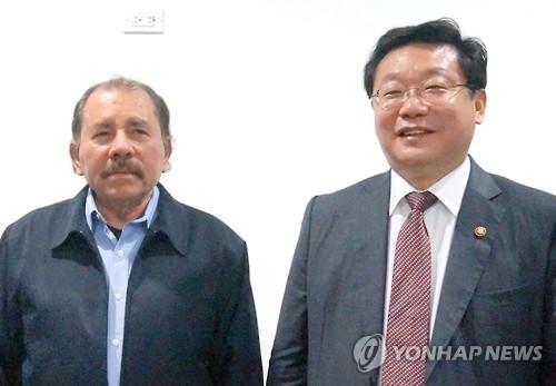 韩产业部长官拜会尼加拉瓜总统奥尔特加