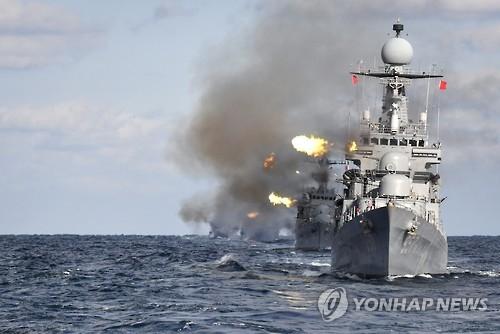 韩海军环海演习对朝释放警告信号
