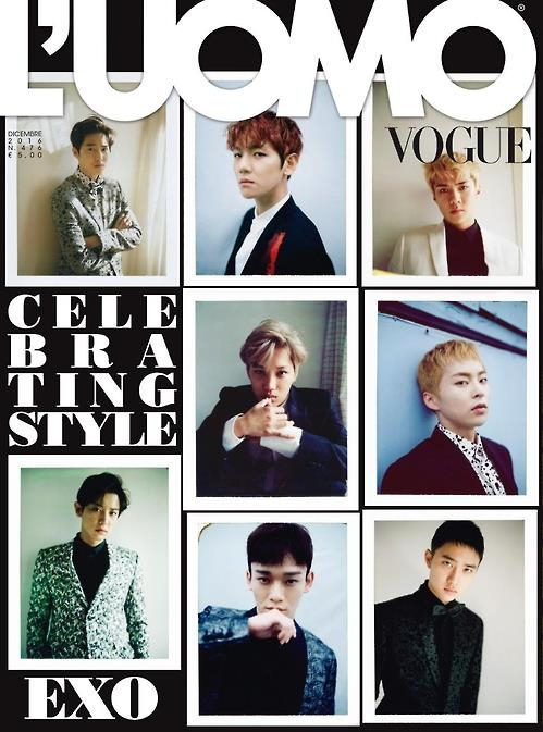 EXO登上意大利《L'uomo Vogue》12月刊封面
