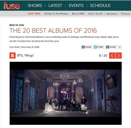 防弹少年团《WINGS》获评美FUSE TV二十佳专辑