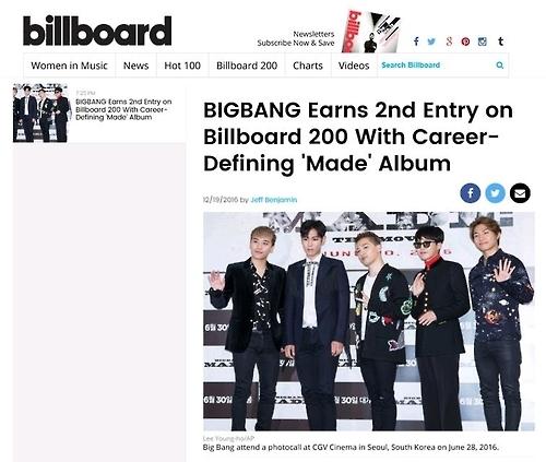 BIGBANG正规3辑入围公告牌200强榜