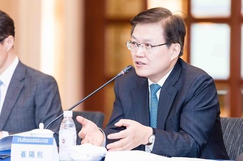 21日,在四川省成都,韩国未来创造科学部长官崔阳熙出席韩中科技合作联合委员会第13次会议并介绍科学技术创新政策。(韩联社/未来创造科学部提供)