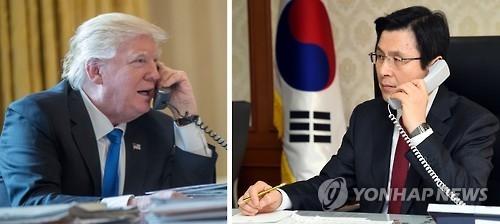30日上午9时,韩国代理总统黄教安(右)与美国总统特朗普通电话。(韩联社/总理室提供)
