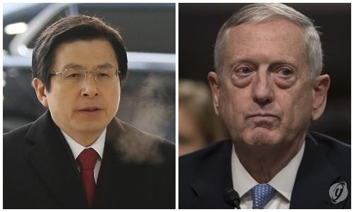 韩代总统将接见美防长讨论朝核问题