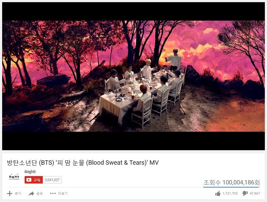 防弹少年团3首歌MV在YouTube点击量破亿