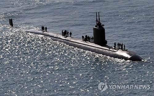 美哥伦布号核潜艇抵韩参加韩美联演