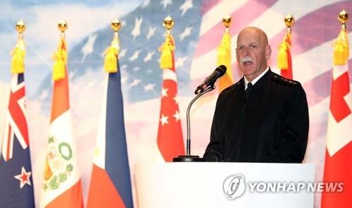 4月4日,在韩国,美国太平洋舰队司令史威孚特在亚太24国登陆战研讨会PALS上发表主旨讲话。(韩联社)