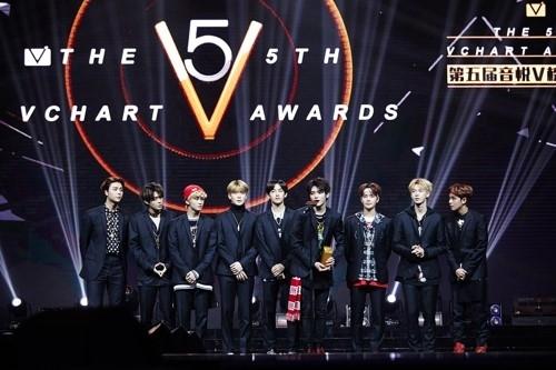 4月8日,在澳门,NCT 127发表获奖感言。(SM娱乐提供)