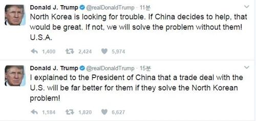 特朗普:中国不帮忙照样解决朝鲜问题