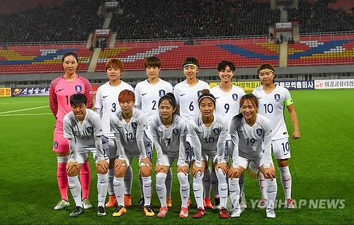 资料图片:韩国女足在金日成体育馆合影。(韩联社)