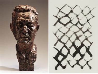 图为白文基的《构想》(左)和徐世钰《人们》