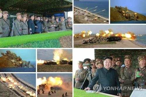 """据朝鲜《劳动新闻》4月26日报道,朝军25日进行建军以来最大规模的""""军种联合打击示威"""",劳动党委员长金正恩到现场参观。图为演习现场。图片仅限韩国国内使用,严禁转载复制。(韩联社/朝鲜《劳动新闻》)"""