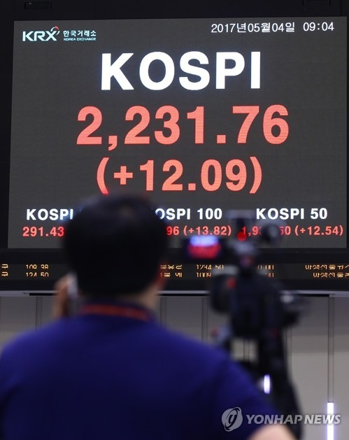 5月4日上午,韩国KOSPI指数时隔六年再刷新年中最高纪录。(韩联社)