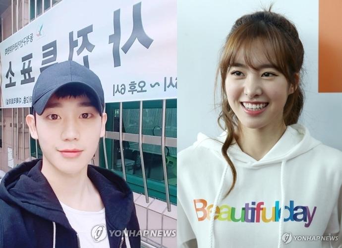演员郑海仁(左)和演员陈世妍