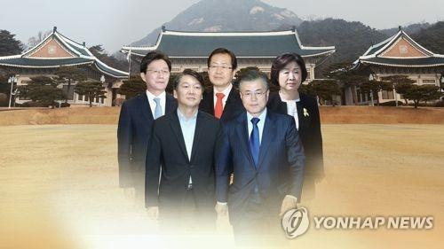 上排左起为刘承旼、洪准杓、沈相奵,下排左起为安哲秀、文在寅。(韩联社)