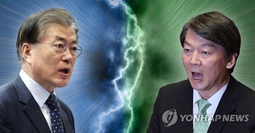 文在寅(左)与安哲秀(韩联社)