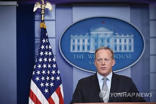 资料图片:美国白宫发言人斯派塞(韩联社)