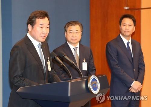5月10日,在韩国总统府青瓦台,李洛渊在记者会上就被提名为总理表态。(韩联社)