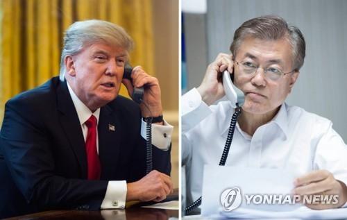 5月10日晚,韩国新任总统文在寅(右)美国总统特朗普通电话。