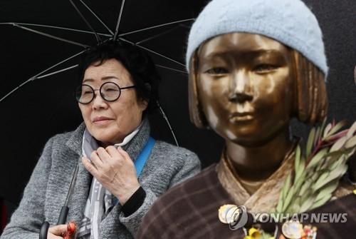 资料图片:慰安妇奶奶和少女像(韩联社)