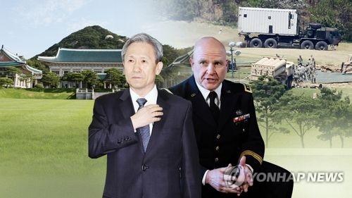 韩国青瓦台国家安全室室长金宽镇(左)与美国国家安全事务助理麦克马斯特
