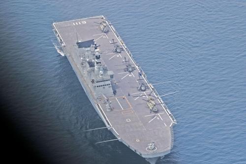 """""""独岛舰""""正在参加演习。(驻韩美军官方脸谱)"""
