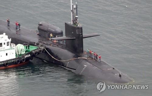 美国核动力潜艇开到釜山。(韩联社)