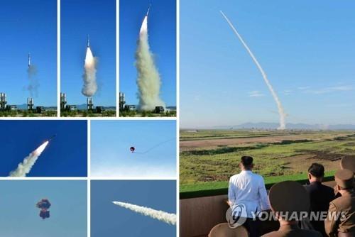 据朝中社28日报道,金正恩参观试射新型防空导弹。图片仅限韩国国内使用,严禁转载复制。(韩联社)