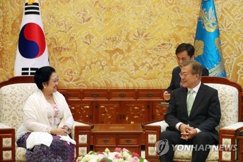 文在寅(右)接见印尼前总统梅加瓦蒂(韩联社)