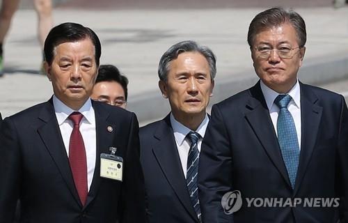 资料图片:5月17日,在国防部,韩国防长韩民求和时任国安室长金宽镇陪同文在寅视察。(韩联社)