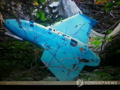 资料图片:2014年6月,在江原道三陟市一座荒山上,一架疑似来自朝鲜的无人机坠落树丛。(韩联社/国防部提供)