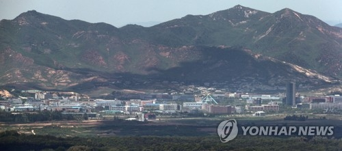 从韩国坡州市北望静悄悄的朝鲜开城工业园(韩联社)