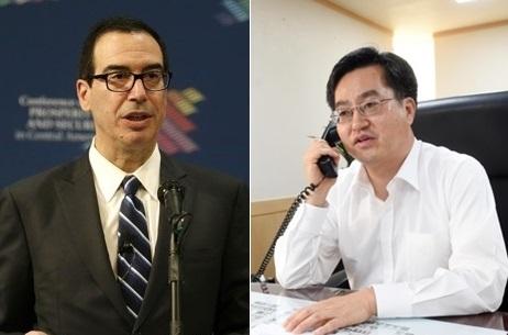 资料图片:史蒂文•努钦(左)和金东兖(韩联社)