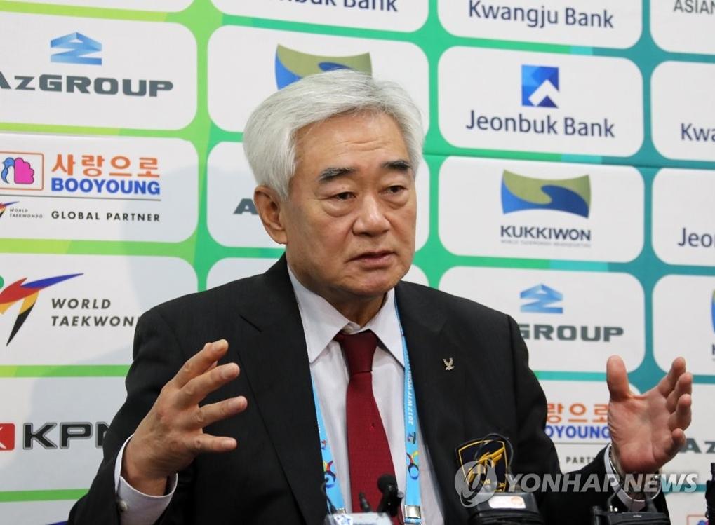 赵正源在记者会上发言。(韩联社)
