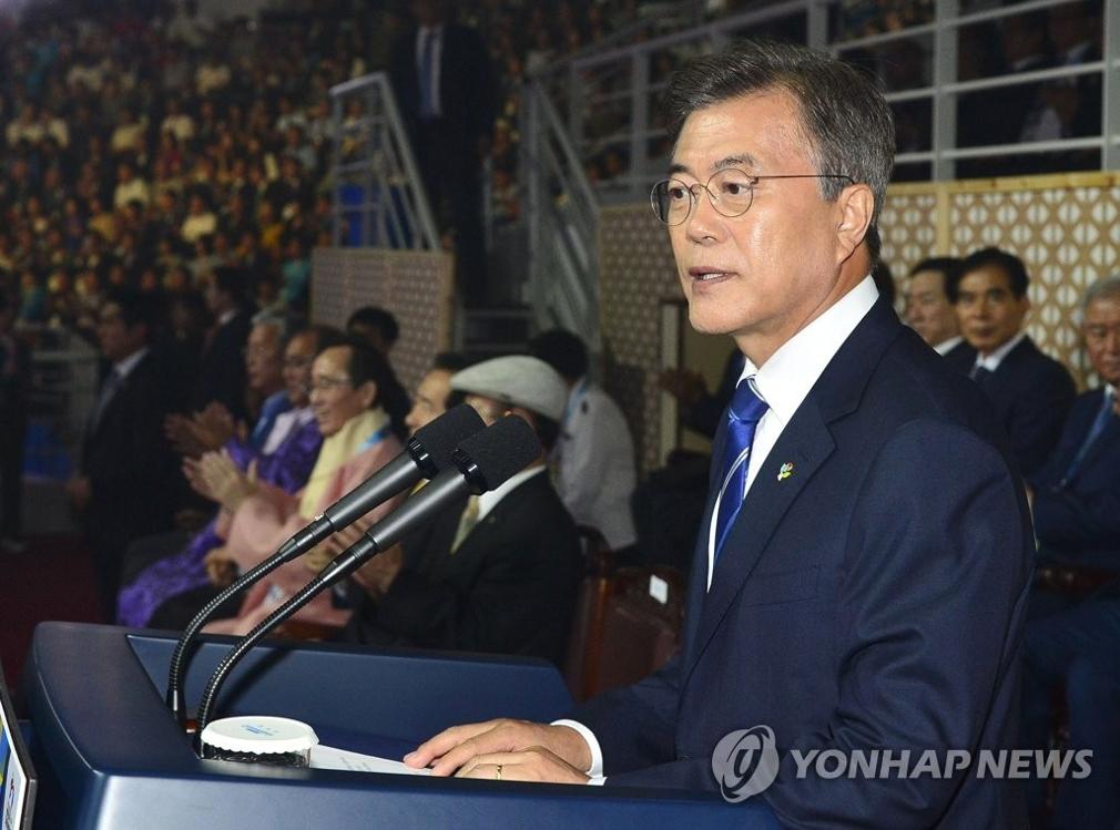 6月24日,文在寅出席在全罗北道茂朱郡举行的2017世界跆拳道锦标赛开幕式并致辞。(韩联社)