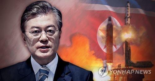 朝鲜核导挑衅不断,文在寅对朝政策临考。(韩联社)